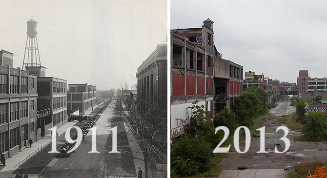 15 Historical Photos Of Detroit And Their Modern Day Equivalent - Atchuup! - Cool Stories Daily