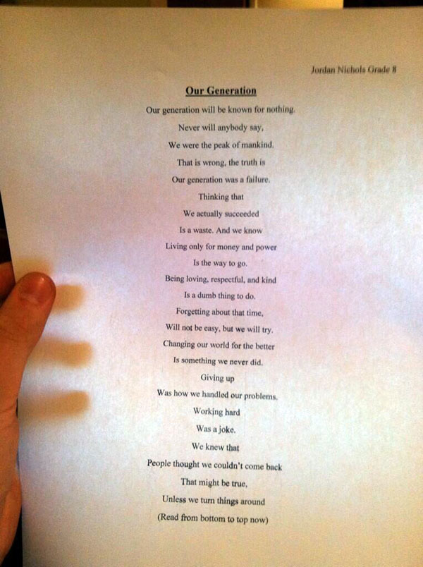 This Simple Poem from a 14-Year-Old Boy Will Leave You