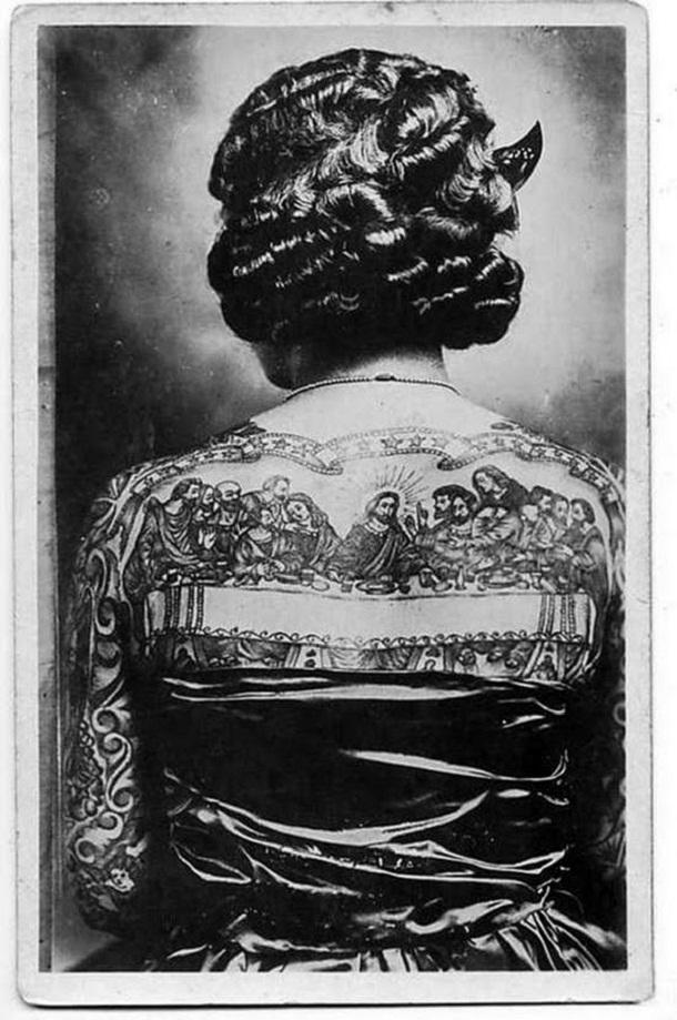 vintage photos - women with tattoos 2