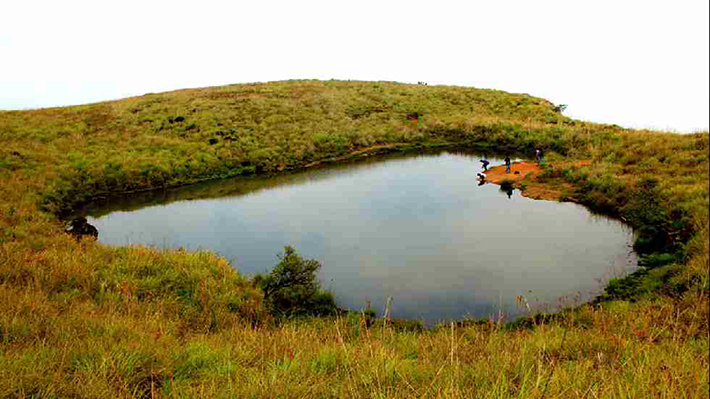 heart-shaped islands - lake near chembra peak india