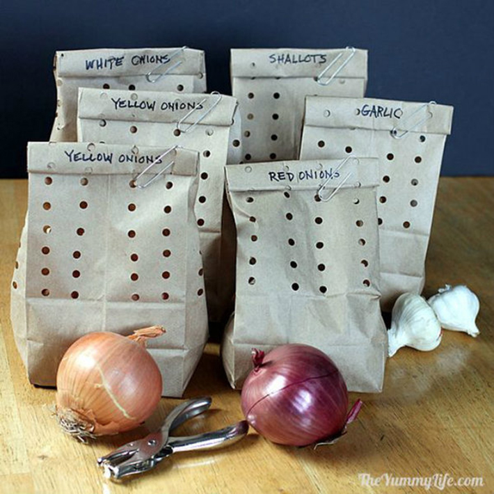 food hacks - onions in holey bags