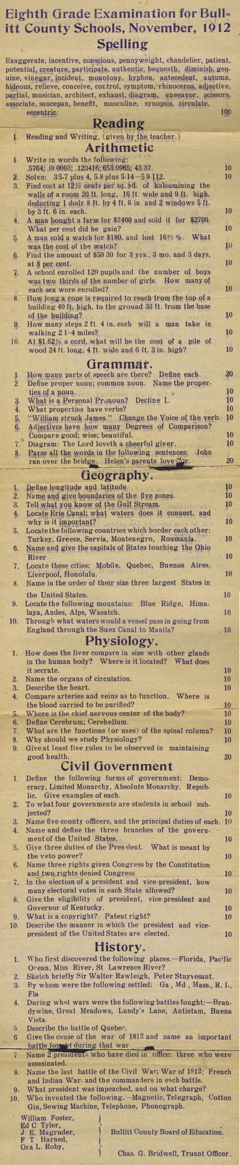 1912 8th grade test