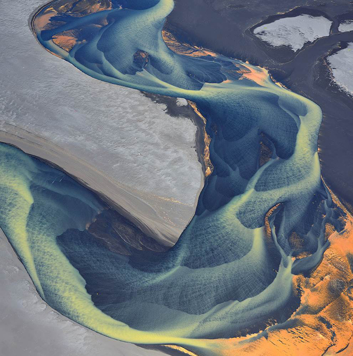 aerial photos - glacial river