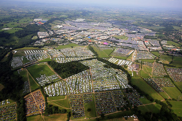 aerial photos - glastonbury fest